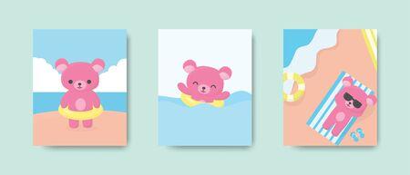 Happy cute bear postcard or poster on the beach in summer season. Vector illustration. Çizim