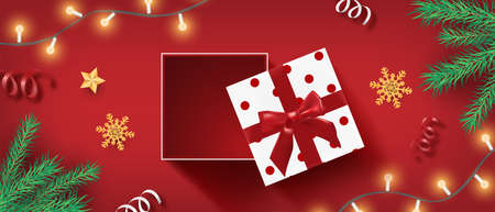 Christmas banner with open realistic gifts box, snowflake and confetti on red from top view. Çizim