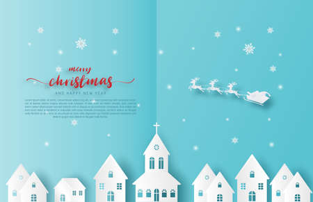 Merry Christmas background. Santa Claus and reindeer flying over city in paper cut style on blue background. Çizim