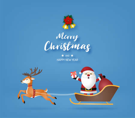Merry Christmas and happy new year with Santa Claus and Reindeer on blue background. Çizim