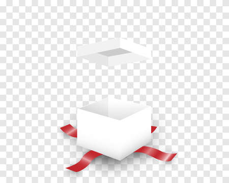 Open white gift box and red ribbon isolated on background. Çizim