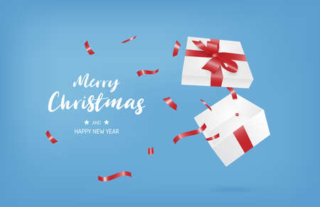 Merry Christmas and happy new year banner with open gift box on blue background.