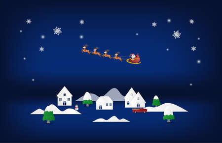 Paper art and craft Christmas background. Santa Claus and reindeer flying over city on blue background.