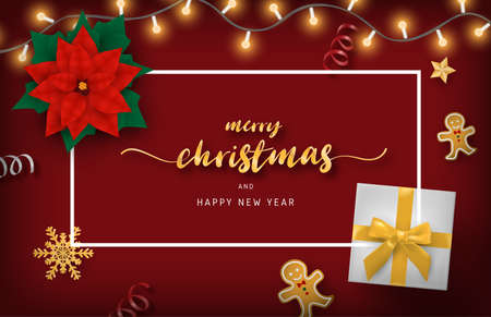 Merry Christmas and happy new year banner with decoration from top view. Çizim