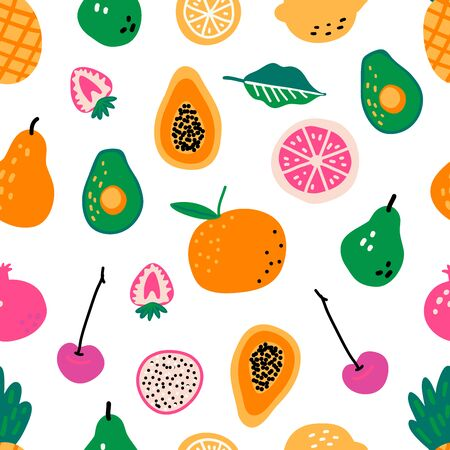 Seamless pattern with fruits. Hand drawn vector illustration. Cooking ingredients or courses background. Recipe cartoon template. Scandinavian style cafe menu greengrocery, banner, cookbook page.