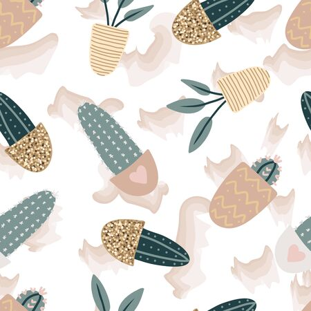 Seamless pattern with decorative houseplants. Trendy plants growing in pots. Set of beautiful natural home decorations. Flat colorful vector illustration with gold texture. Illustration