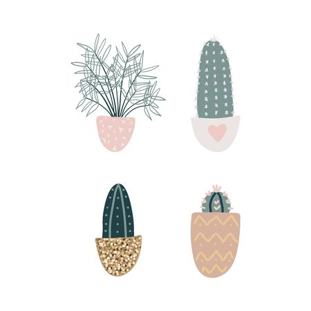 Collection of decorative houseplants isolated on white background. Bundle of trendy plants growing in pots. Set of beautiful natural home decorations. Flat colorful vector illustration.