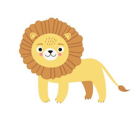 Lindo personaje de león. Ilustración de estilo de vector de dibujos animados simple de animal africano, aislado sobre fondo blanco