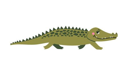 Cute crocodile character. Simple cartoon vector style illustration of animal, isolated on white background