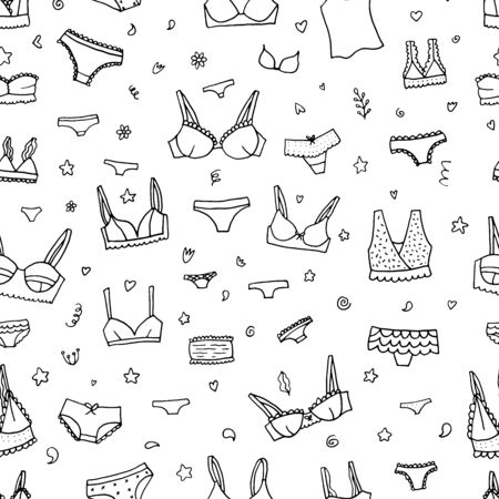 Lingerie seamless pattern. Vector underwear background design. Outline hand drawn illustration. Bras and panties doodle. Vector Illustratie