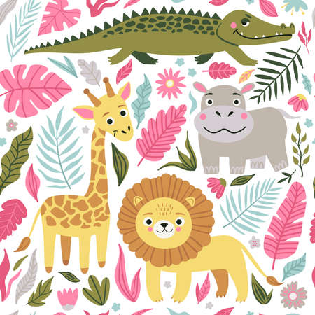 Seamless pattern of wild exotic animals living in savannah or tropical jungle. Vector bright illustration for kids isolated on white background. Stock Illustratie