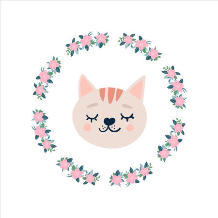 Orange cat head face icon with closed eyes in a round frame of flowers. Cute cartoon funny character. Mustache. Pet baby print collection. Happy valentines day. Scandinavian style. Isolated vector Stock Illustratie