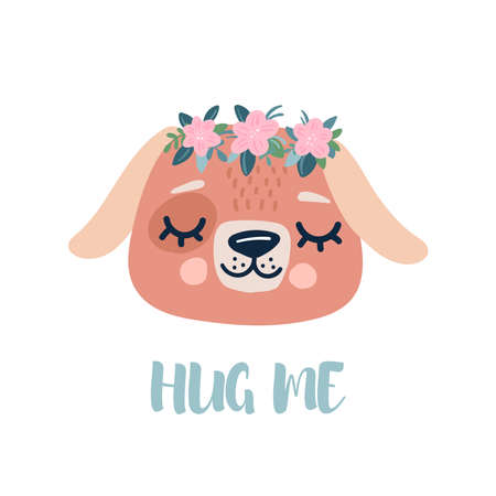 Cute dog with a wreath of flowers on his head. Spring character and lettering hug me. Vector card Vettoriali