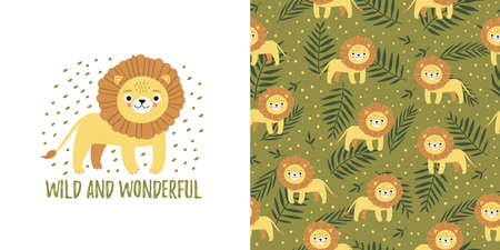 Seamless kid pattern and illustration with lion, lettering wild and wonderful, and leaves. Cute pajama design. Childrens background for clothes, T-shirt print, room interior, card, packaging