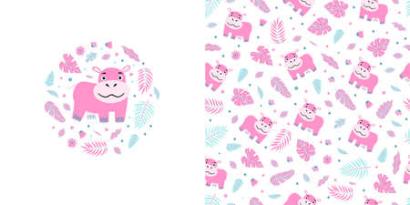 Seamless kid pattern and illustration with pink hippo and leaves in a round shape. Cute pajama design. Childrens background for clothes, T-shirt print, room interior, card, packaging