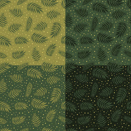 Set of summer exotic floral tropical seamless pattern with palm, banana leaves in green color on the white background. Vector illustration