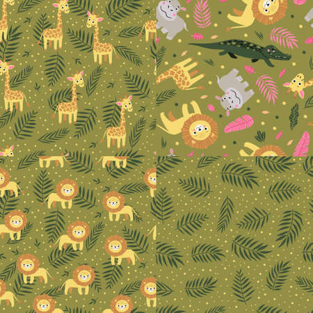 Set of seamless pattern of wild exotic animals living in savannah or tropical jungle. Vector bright illustration for kids isolated on green background.