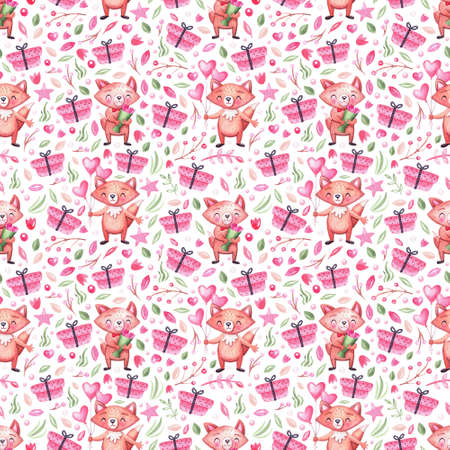 Watercolor seamless pattern with cute festive foxes, gifts, leaves, flowers and balloons. Background for holidays, children, birthday and baby shower 免版税图像