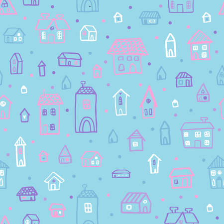 Vector seamless pattern with houses in doodle style. Stylish background for a nursery on blue background. Ilustração
