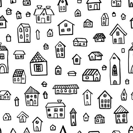 Black and white doodle seamless pattern with cute houses. Linear vector graphics. Ilustração