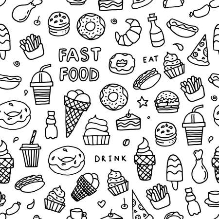 Black and whitedoodle fast food. Vector seamless pattern. Background about drinks and fast food