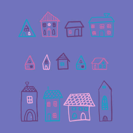Vector set with houses in doodle style. Stylish night print for kids on blue background.