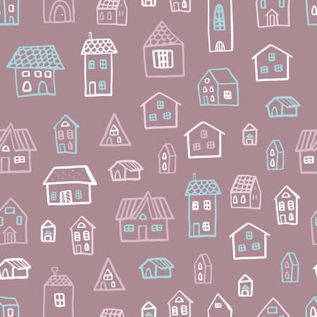 Vector seamless pattern with houses in doodle style. Stylish background for a nursery on brown background. Ilustração