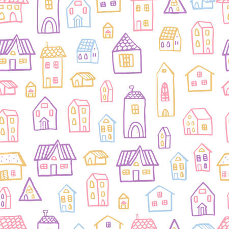 Vector seamless pattern with houses in doodle style. Stylish background for a nursery in scandinavian colors.