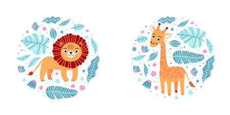 Kid print with giraffe, lion and leaves in a round shapes. Cute pajama design. Childrens characters for clothes, T-shirt with print, room interior, invitation card, packaging. Vector illustration Ilustração