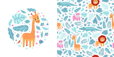Seamless kid pattern and illustration with giraffe and leaves in a round shape. Cute pajama design. Childrens background for clothes, T-shirt print, room interior, card, packaging
