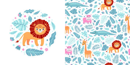 Seamless kid pattern and illustration with lion and leaves in a round shape. Cute pajama design. Childrens background for clothes, T-shirt print, room interior, card, packaging Illusztráció