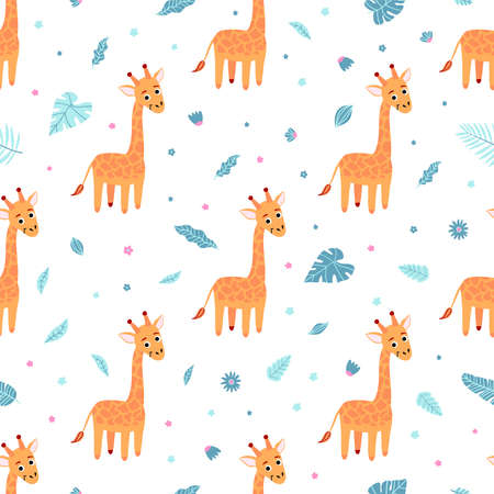 Cute seamless pattern with giraffe and exotic leaves on white background. Design for printing, wallpaper, gift wrap, textiles. Vector illustration
