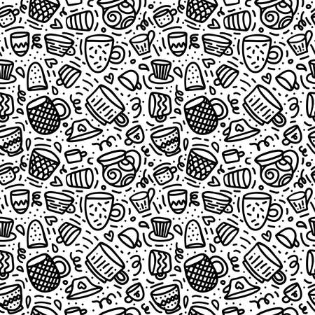 Seamless doodle pattern with cups and mugs for coffee or tee time. Black hand drawn line art on white background. Ilustração