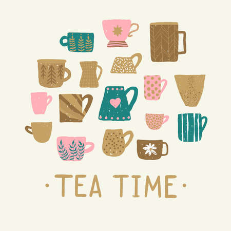 Set with different cups of tea illustrations on light background for mood poster design. Home decorations isolated on light background. Ilustração