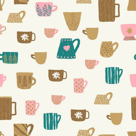 Seamless pattern with different cups of tea illustrations on light background for mood poster design. Home decorations isolated on light background.