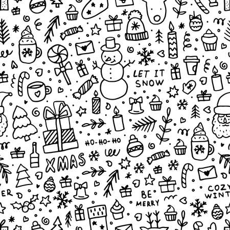 Doodle Christmas seamless pattern. Winter black line elements for greeting cards, posters, stickers and seasonal design on white background.