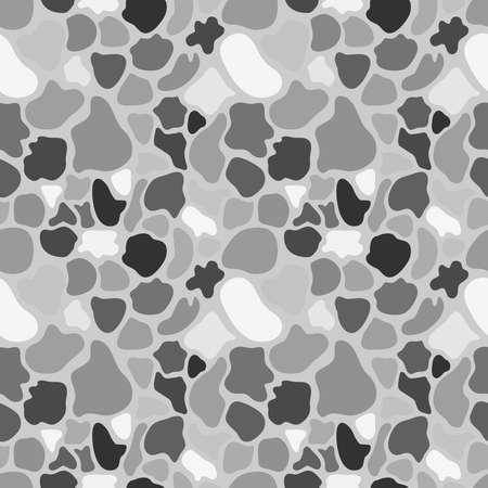 Vector monochrome seamless pattern, spots and blots on gray background. Abstract endless texture of animal skin, camouflage. Design element for fabric, prints, textile, wrapping, digital, web Ilustração