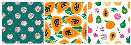 Set of three seamless repeat patterns with hand drawn fruits and berries. Modern textile, greeting card, poster, wrapping paper designs. Stock Illustratie