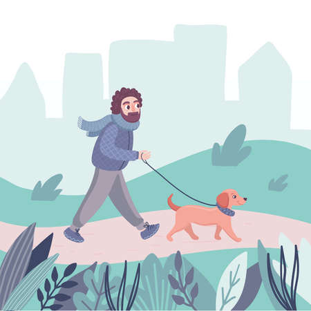A man walks with a dachshund dog. A male character spends time with a relaxing with a pet, puppy in the park. Cartoon flat vector illustration isolated on white background.