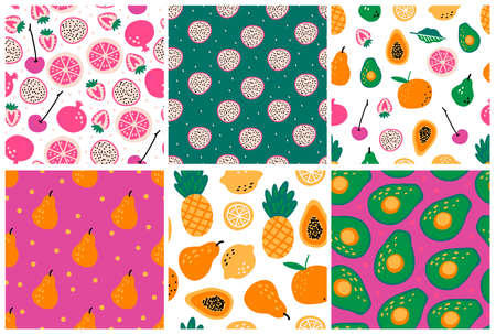 Set of seamless patterns fruits and berries on light background. Modern textile, greeting card, poster, wrapping paper designs. Stock Illustratie
