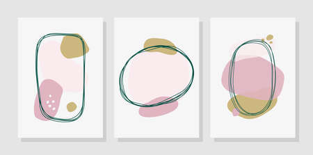 Set of minimal background with organic abstract shapes. Contemporary poster. Design for greeting cards, covers, poster, branding.