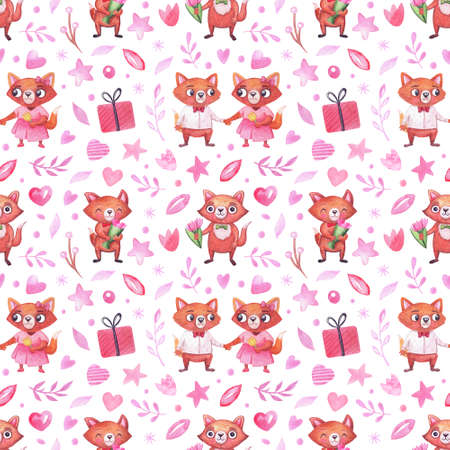 Watercolor pattern with cute foxes for the holidays, valentine's day, birthday and others. Background for invitations, packaging and other party attributes 免版税图像