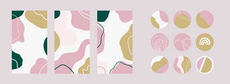 Set of story templates and highlights covers. Abstract backgrounds for social media stories. Vector with organic shapes. Illustration for girls blog.