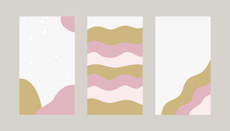 Backgrounds for social media stories. Abstract vector set with pink and gold organic shapes. Illustration for girls blog.