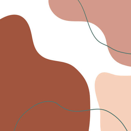 Terracotta minimal background with organic abstract shapes. Contemporary poster. Design for greeting cards, covers, branding, highlight, template. Ilustração