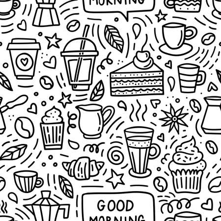 Coffee doodle seamless pattern. Good morning background with beans, cups, mugs and desserts for shop or cafe menu Ilustração