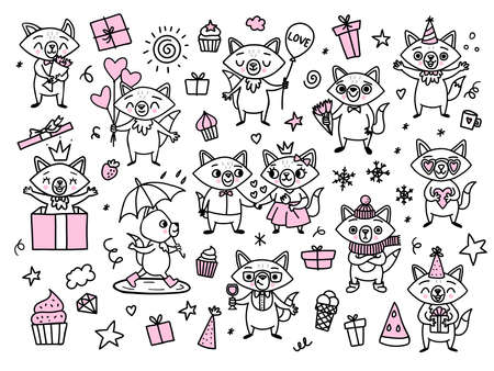 Doodle funny foxes. Happy cartoon characters for holidays. Vector hand drawn animals with balloon, gift box, bouquet, flower, couple, love, watermelon, cupcakes, umbrella, and lettering