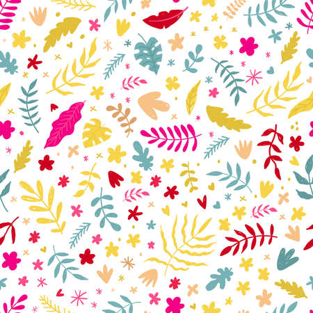 Vector seamless floral pattern in doodle style. Bright pattern with flowers, hearts and branches. Background for wallpaper, paper, greeting cards, invitations and tissues.