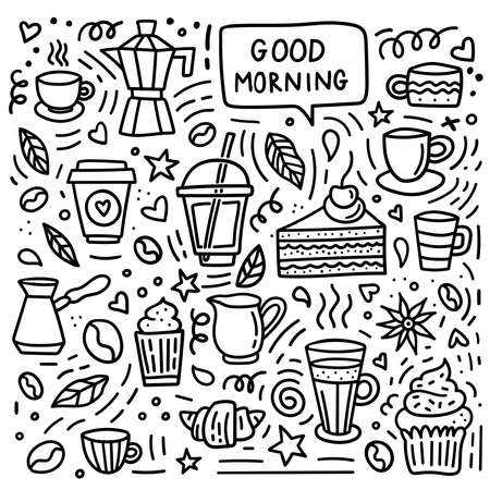 Coffee doodle set. Good morning background with beans, cups, mugs and desserts for shop or cafe menu