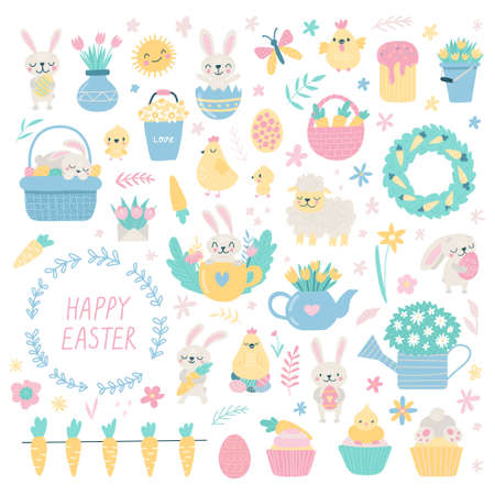 Set of cute Easter cartoon characters and design elements. Bunny, chickens, eggs and flowers. Vector illustration